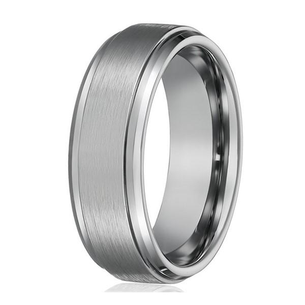 Mens Best Tungsten Wedding Ring Polished Step Beveled Edge