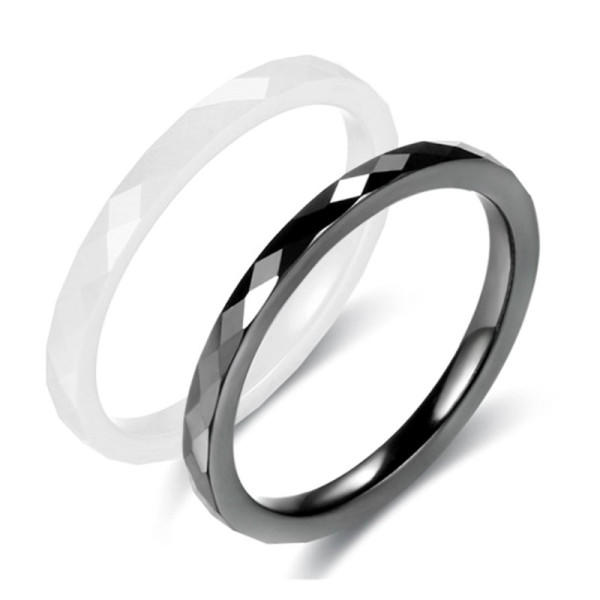 Custom Mini Faceted Black and White Ceramic Ring Accessories