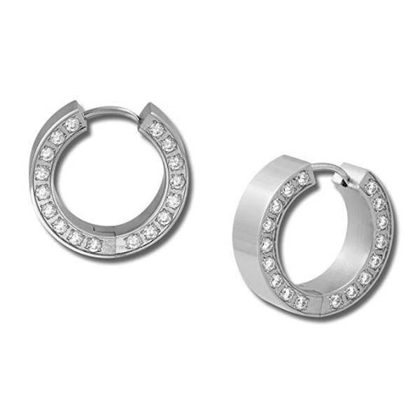 OEM Surgical Stainless Steel Huggie Hoop Gemstones Earrings With CNC AAA Cubic Zirconia