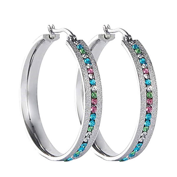 Stainless Steel Large Hoop AAA Zircon Earrings For Women Factory