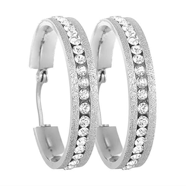 Stainless Steel Large Hoop AAA Zircon Earrings For Women Factory