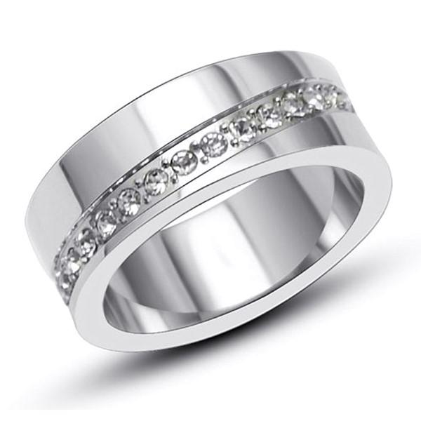 CNC Inlay AAA Cubic Zircon Surgical Stainless Steel Wedding Ring for Men Women