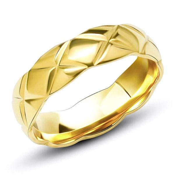 Gold Plating Surgical Stainless Steel Pattern Wedding Rings