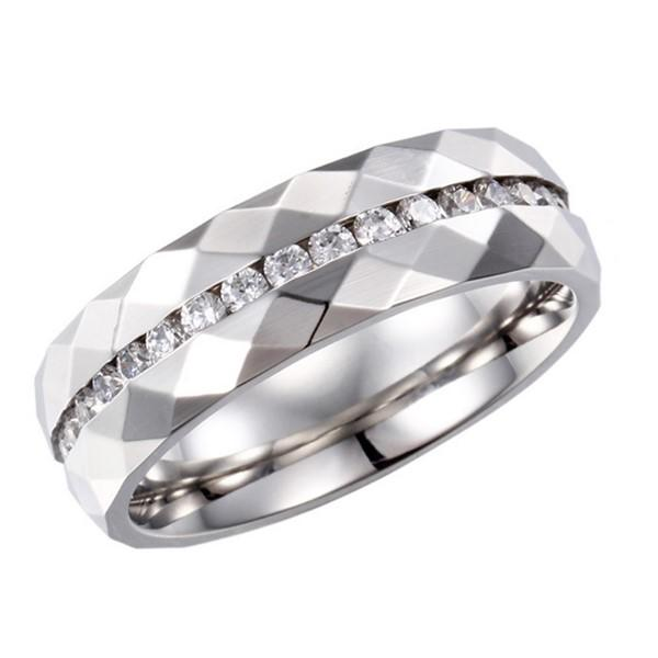 OEM luxury AAA Cubic Zircon Inlay Stainless Steel Engagement Ring for Women