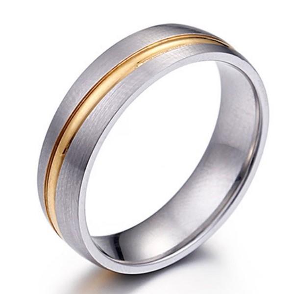 Gemstone Matte 316L Stainless Steel Wedding Rings 3 Zirconia