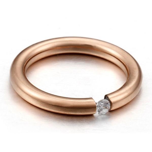 Cubic Zirconia Gemstone Wedding Ring 316L Stainless Steel
