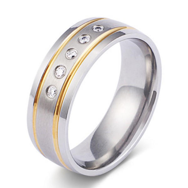 Custom Mens Titanium Wedding Bands with Zircon Stones