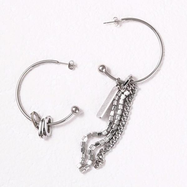 316L Stainless Steel Luxury Hoop Pendant Chain Beads Earrings for Women