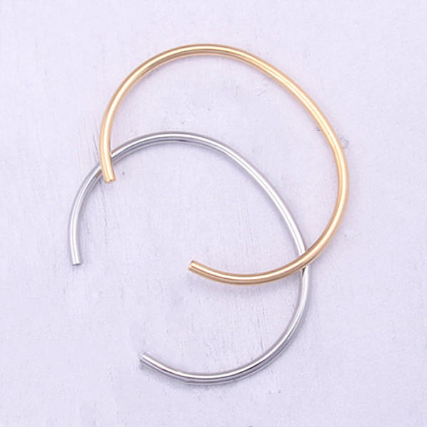 Custom 316L Stainless Steel Polished Oval Cuff Bangle for Men Women