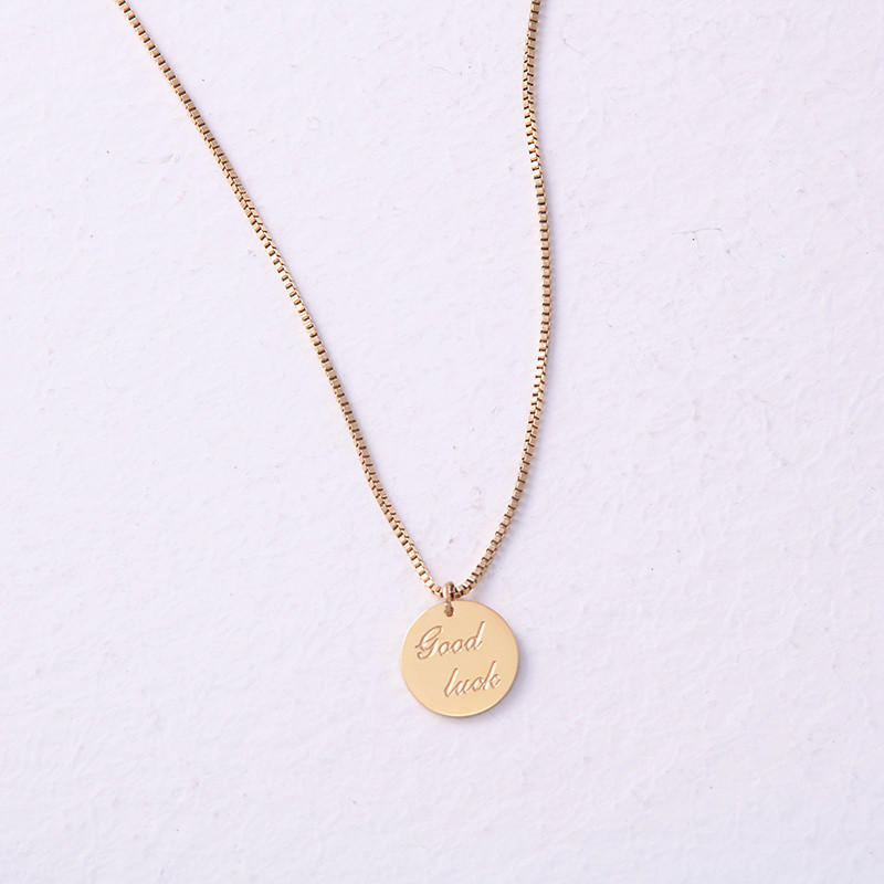 OEM Engraved 316L Stainless Steel Disc Coin Dainty Necklace