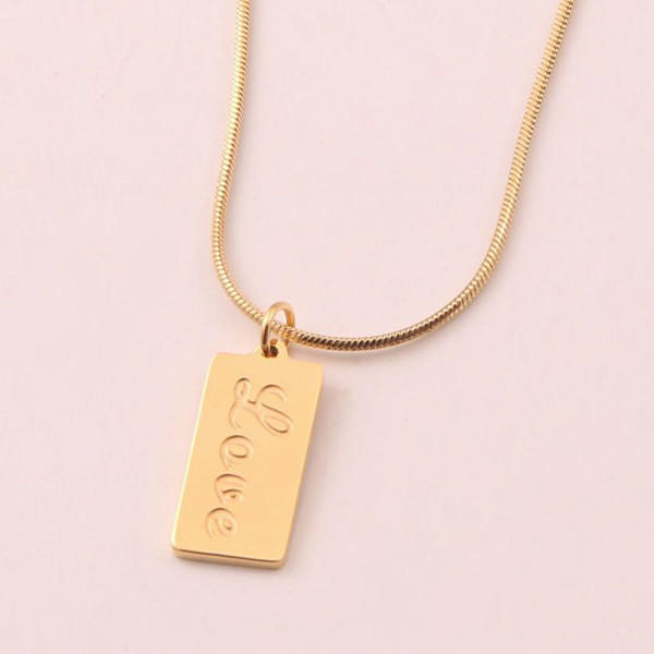 Minimalist Women Jewelry Surgical Stainless Steel Plate Snake Chain Necklace