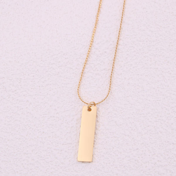 Girls Surgical Stainless Steel Bar Name Dainty Plain Pendant Necklace Gold Plating