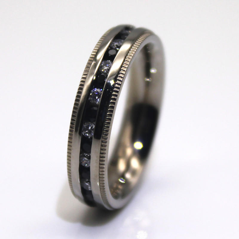 JaneE shiny mens stainless wedding bands milgrain for weddings