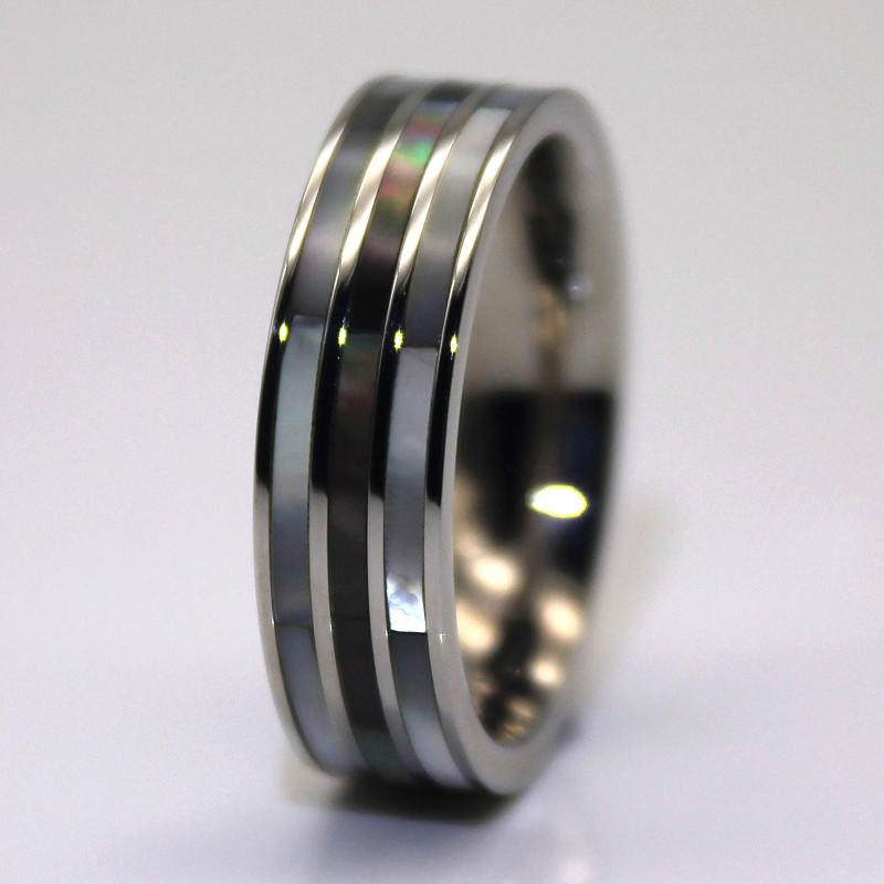 Abalone Shell Inlay Surgical Stainless Steel Mens Women Rings