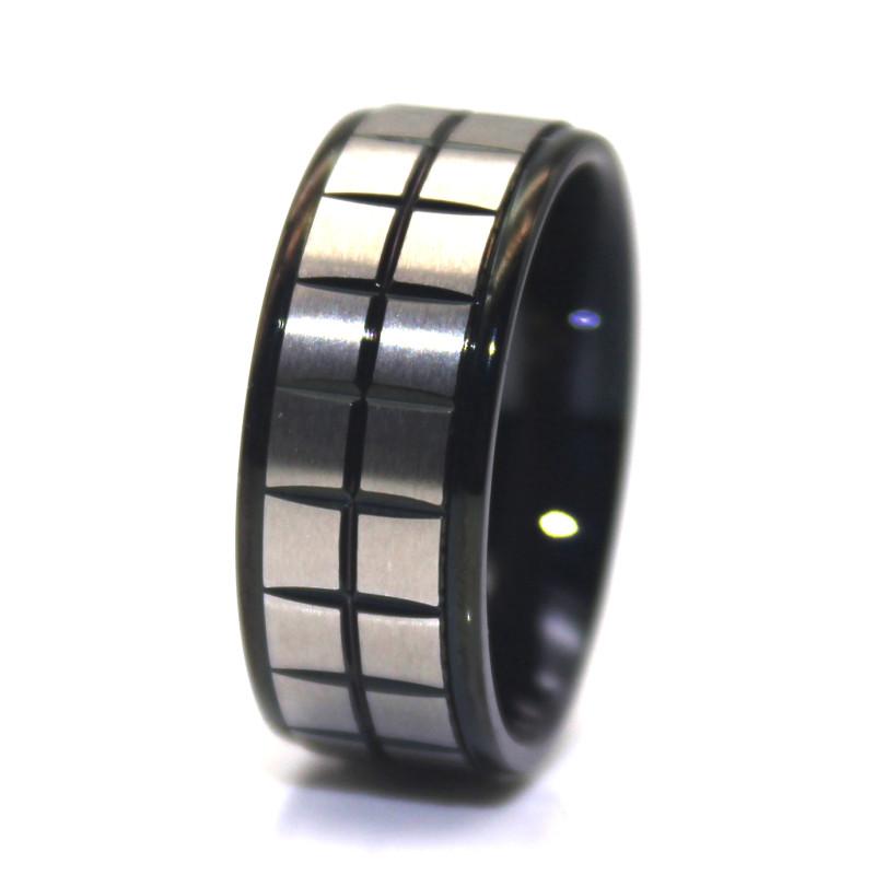 JaneE gunmetal stainless steel mens wedding bands top quality for men-1