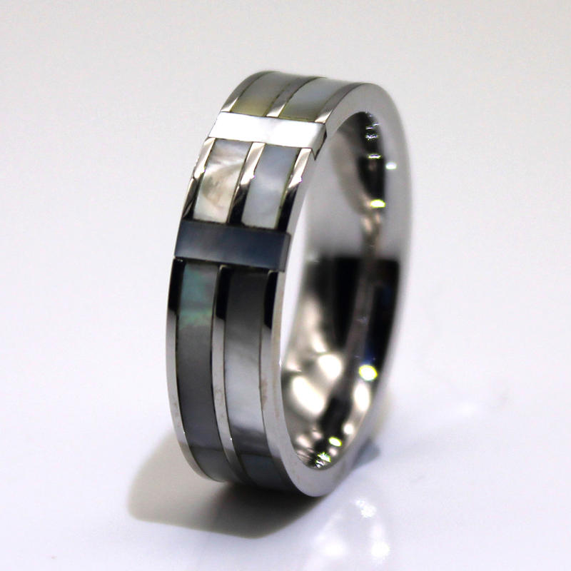 Channel 316l Stainless Steel Ring Core Inlay Abalone Shell