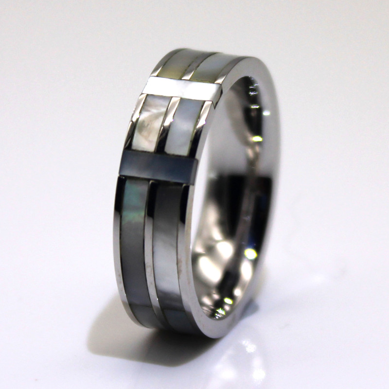 JaneE factory direct black steel ring multi colors for men-1