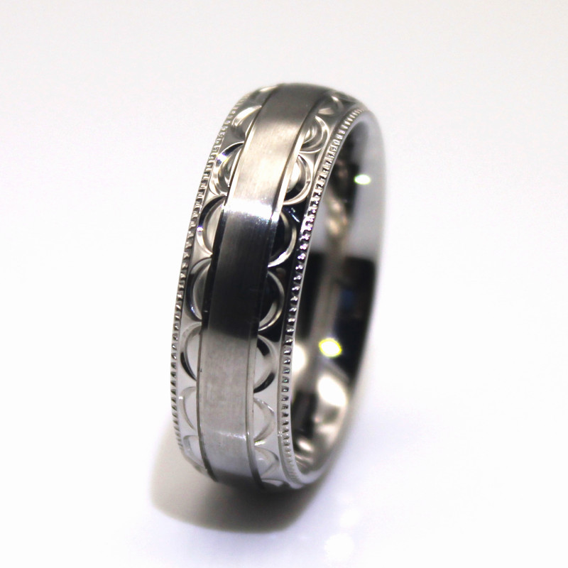 JaneE gunmetal stainless steel wedding band fashion design for weddings-1