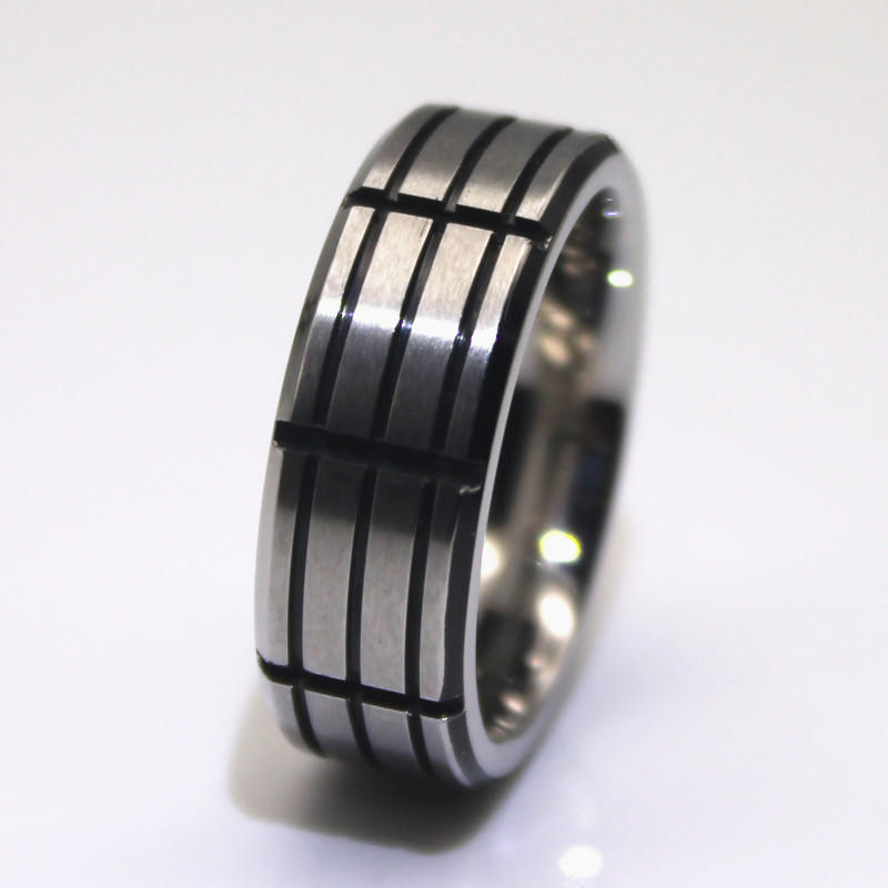Fashion Punk Men Ring Black Oil Groove 316L Stainless Steel
