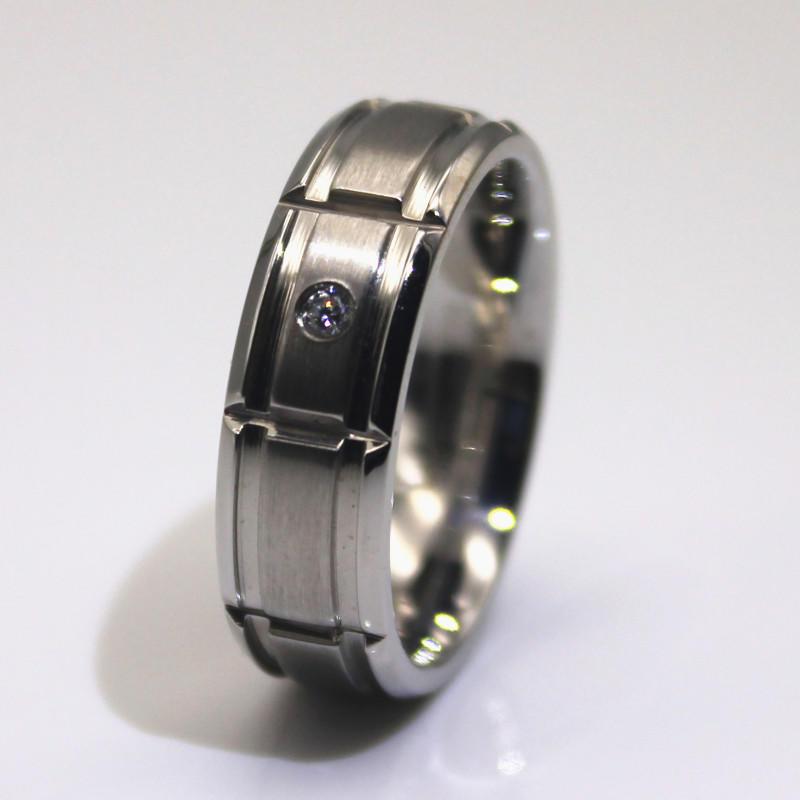 1 Carat Cubic Zircon Stone Stainless Steel Men Wedding Band Women Wedding Ring