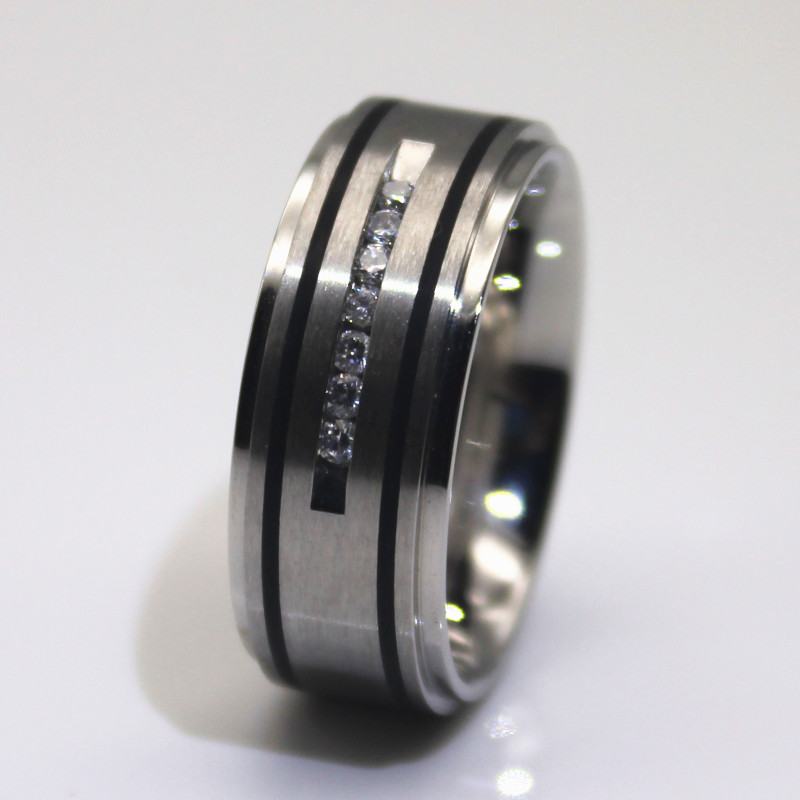 JaneE inlay stainless steel cz rings fashion design for decoration-1