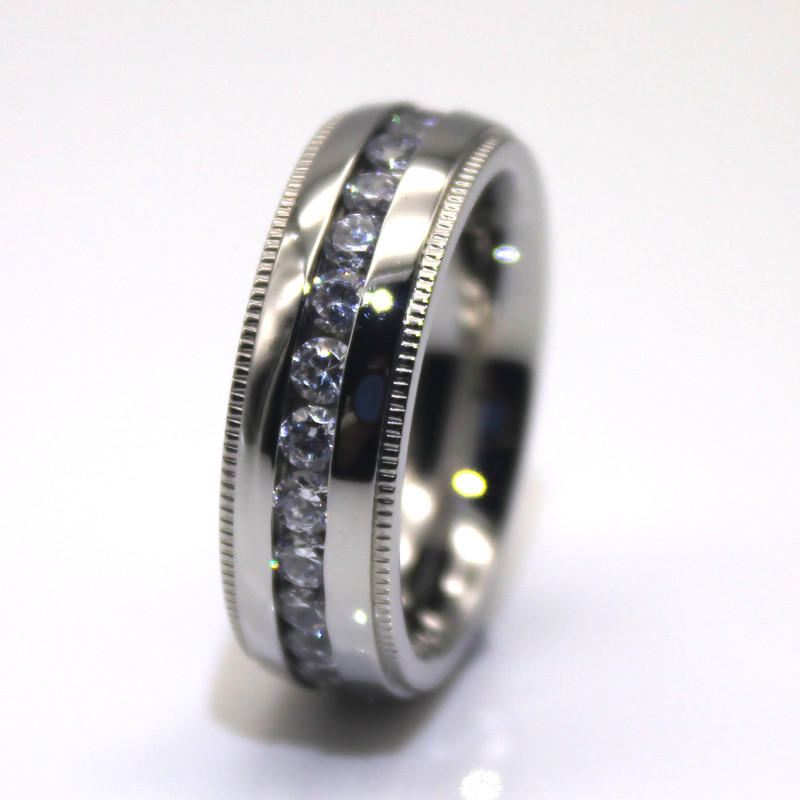 Manufacture 8mm 316l Stainless Steel Wedding Band in China