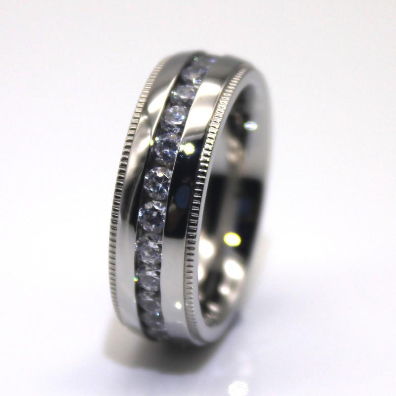 JaneE AAA CZ Stones black steel ring multi colors for weddings