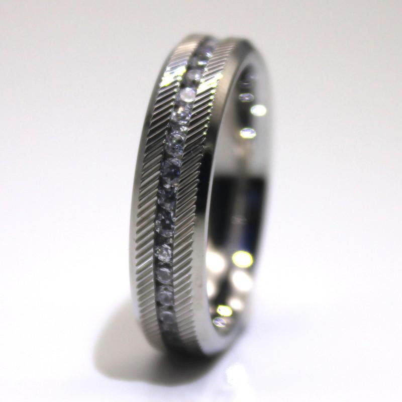 Custom Men Women Knurl Surgical Stainless Steel Wedding Ring