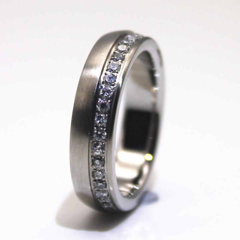 CNC Inlay Surgical Stainless Steel Wedding Band Men Ring Women Gift