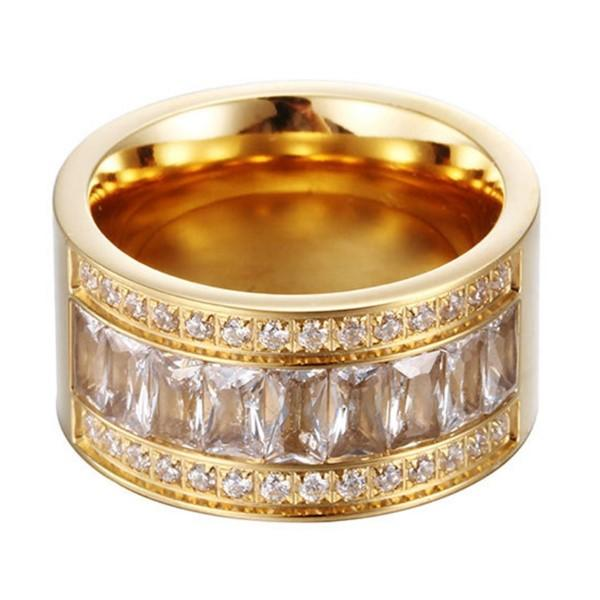12mm Mens and Women Wedding Ring Stainless Steel Band with Cubic Zirconia Inlay
