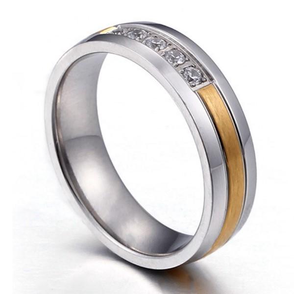 5 Stones Diamond 316L Stainless Steel Wedding Rings for Women Men