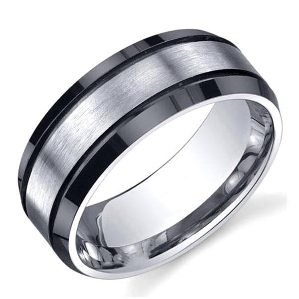 Man's Titanium Wedding Ring in Black Handmade in China