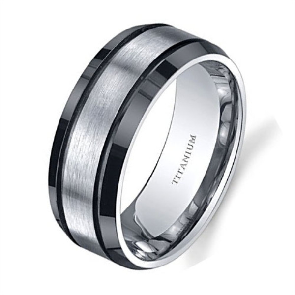 sparkle sandblasting custom black titanium rings for wood crafts wholesale for wedding-1