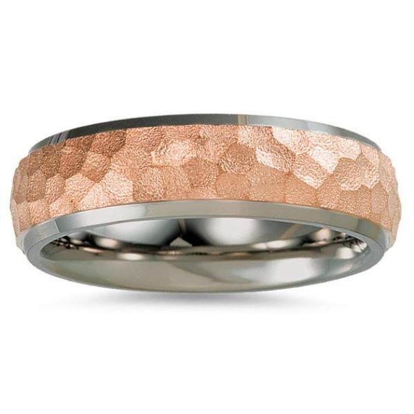 Rose Gold Plating Titanium Wedding Band for Men Women Ring