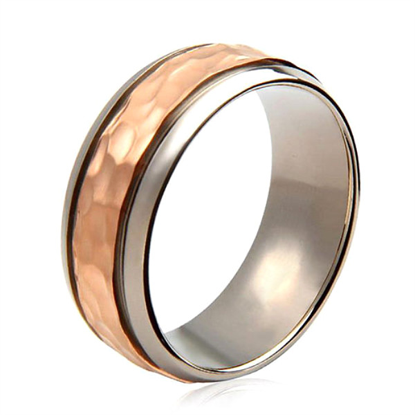 yellow gold black mens rings titanium 8mm threads wholesale for anniversary-2