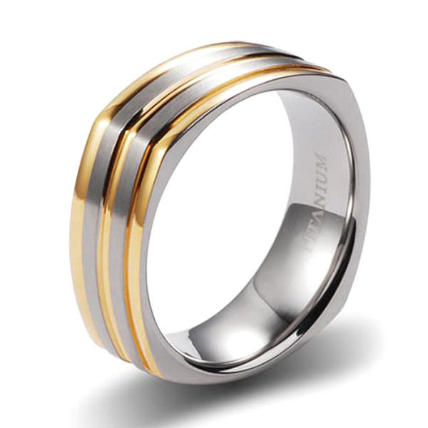 Gold Plating Titanium Wedding Band for Men