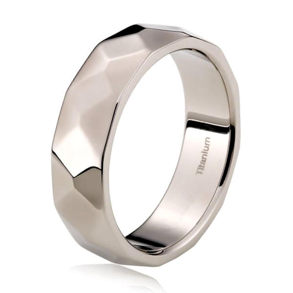 Facets Titanium Wedding Ring for Men Women