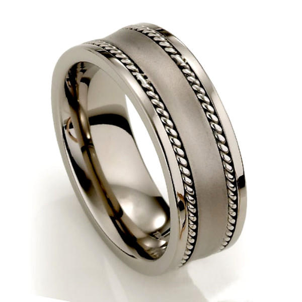 Stainless Steel Chain Inlay Titanium Mens Ring