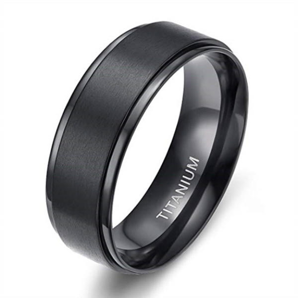 4mm 6mm 8mm Black Titanium Wedding Ring for Men Step Edge