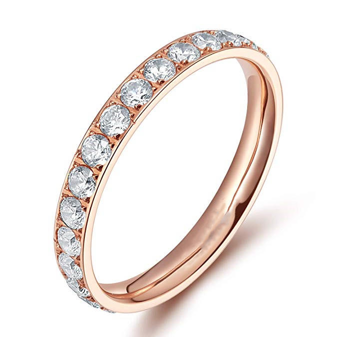3mm Silver Gold Rose Gold Black Titanium Wedding Ring with Cubic Zircon Stones