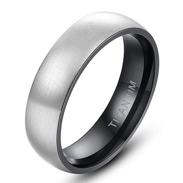 Silver and Black Plating Titanium Domed Ring for Men 6mm 8mm