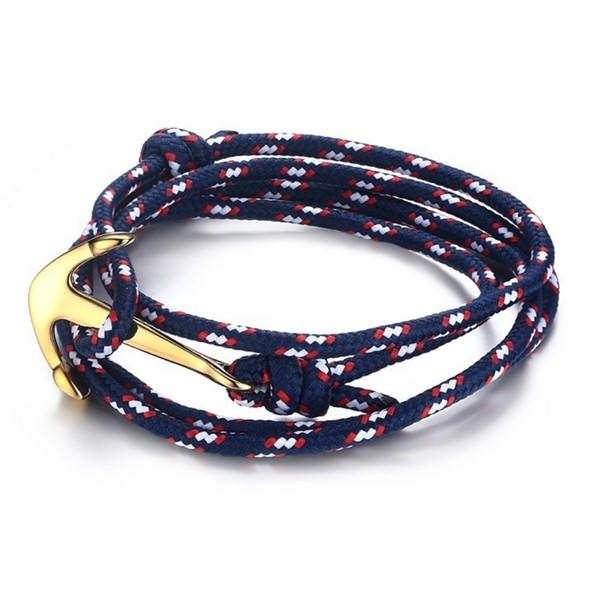 Surgical Stainless Steel Anchor Clap Rope Bracelets for Men Women