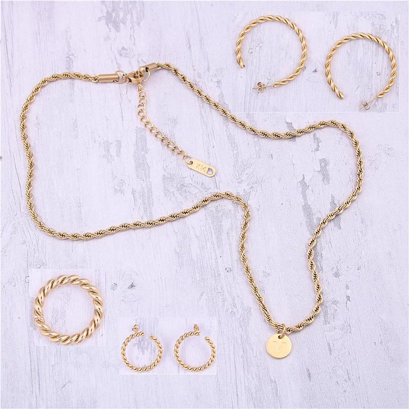 316L Stainless Steel Minimalist Ring Stub Hoop Earrings Necklace Jewelry Set