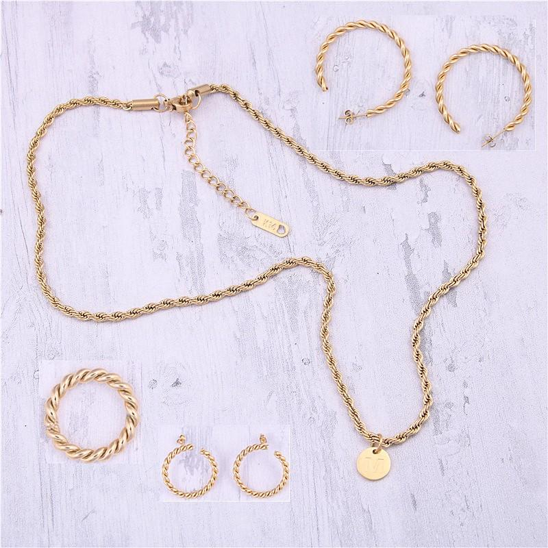316L Stainless Steel Minimalist Ring Stub Hoop Earrings Necklace Jewelry Set