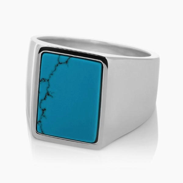 Nature Stone Gemstone Meteorite Turquoise Inlay Stainless Steel Mens Ring