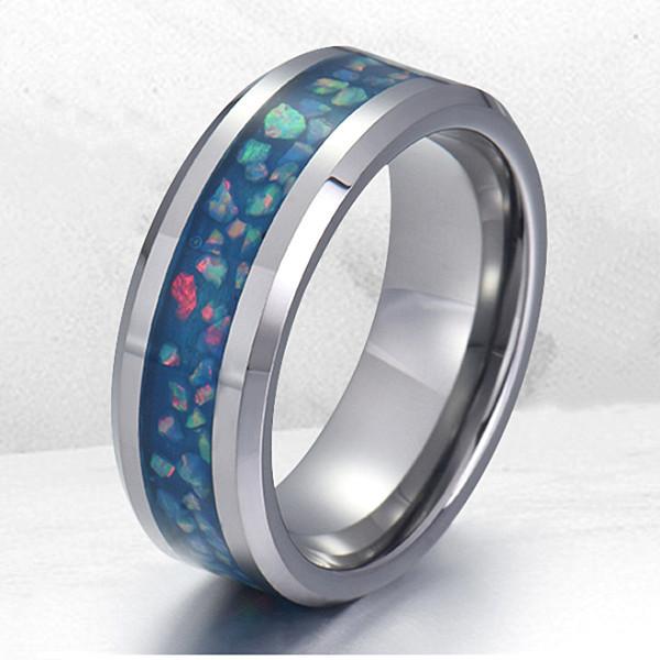shiny stainless steel wedding band 316l steel multi colors for men-1