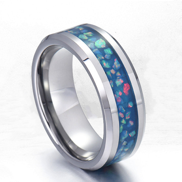 shiny stainless steel wedding band 316l steel multi colors for men-2