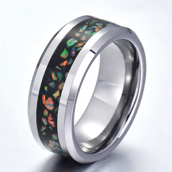 Shiny Blue Fire Opal Stainless Steel Wedding Rings Comfort Fit