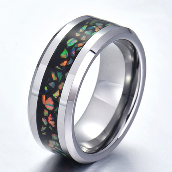 shiny stainless steel wedding band 316l steel multi colors for men-3