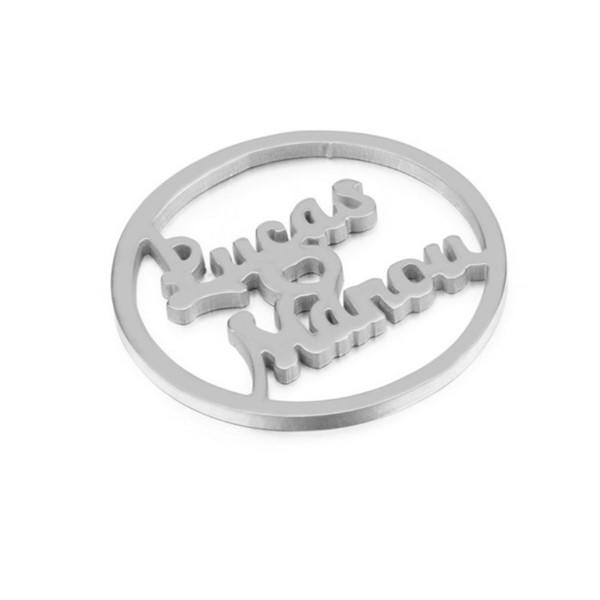 Line Cut 316L Stainless Steel Name Letter Charm Pendant